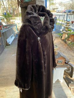 Gallery Faux Fur Chocolate Brown Full Length Coat Size M