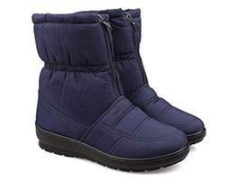 Flat Snow Boots for Women Waterproof, Plush Lined Low-top Co