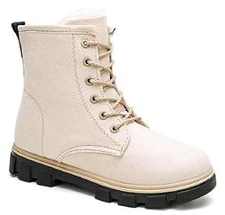 ACE SHOCK Flat Snow Boots for Women, Faux-Fur Lined Martin B