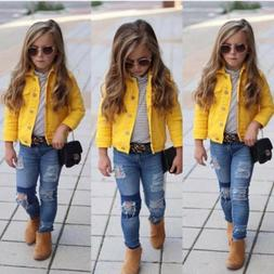 Girls Kids Jean Coat Jacket Outwear Denim Top Button Lace Bu