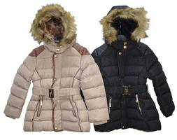 girls long winter warm quilted padded jackets