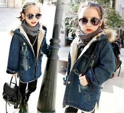 Girls Winter Denim Jackets Coats Kids Fur Cowboy Hooded Warm