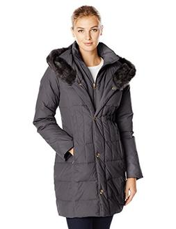 Larry Levine Women's Hooded 3/4 Length Down Filled Coat, Bla