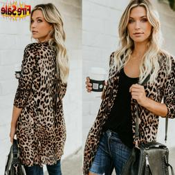 Hot ! Women's Autumn Leopard Print Sweater Cardigan Coat Jac