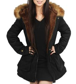 iLoveSIA Womens Hooded Warm Coats Parkas with Faux Fur Jacke