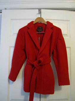 JCrew NWT Camille Bright Red Short Wrap Coat Boiled Wool PM