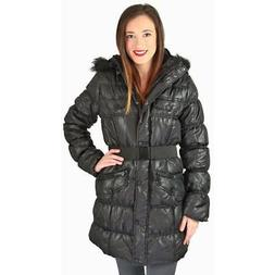 Urban Republic Juniors Long Belted Puffer Faux Down Winter C