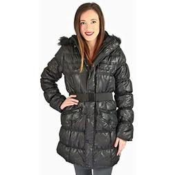 Urban Republic Juniors Long Puffer Faux Down Winter Coat Bla