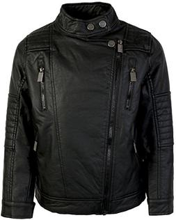 Urban Republic Kids Boy's Faux Leather Moto Jacket  Black 10