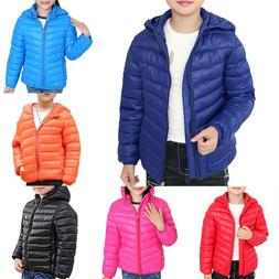 Kids Boys Girls Hooded Padded Jacket Coat Winter Warm Outerw