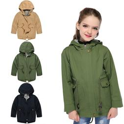 Kids Girls Hooded Jackets Children Boys Windproof Coats Todd