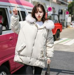 Korea Style Womens Fur Collar Hooded 70% Duck Down Coats Out
