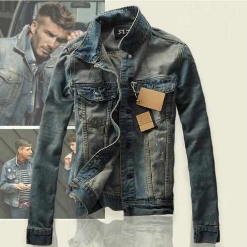 2019 Men's Slim Fit Classic Retro Thicken Coat Jean Denim Ja