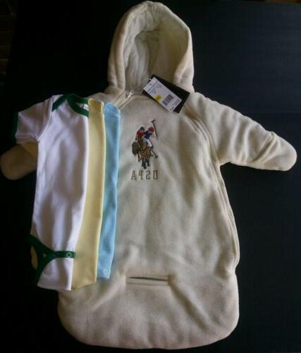 4pc US POLO ASSN SNOW SUIT COAT WINTER CREAM BABY 0-9 M NWT