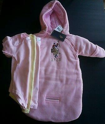 4pc US POLO ASSN SNOW SUIT COAT WINTER PINK BABY 0-9 M 3 One