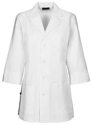"""Cherokee 30"""" 3/4 Sleeve Lab Coat Antimicrobial 1470A WHTD Wh"""