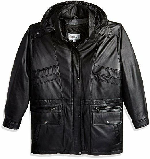 Excelled Men's Big and Tall Lambskin Leather Parka Coat, Bla