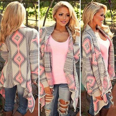 Fashion Womens Long Sleeve Knitted Cardigan Boho Sweater Pon