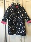 Gap Kids Navy Blue Pink Dot Mac Jacket Raincoat Rain Coat XS