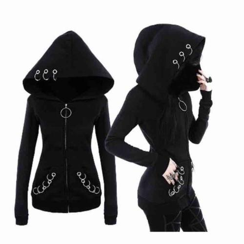 Gothic Women's Girls Punk Solid Hooded Sweat Hoodies Jacket