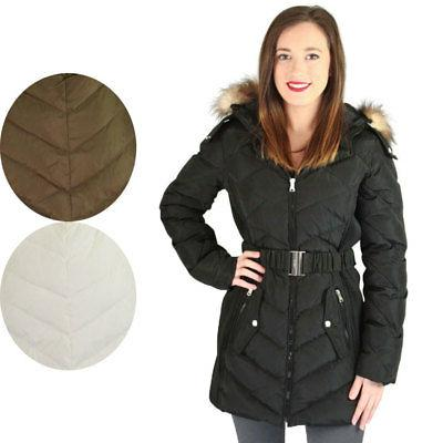 Jessica Simpson Quilted Down Women's Belted Long Hooded Park