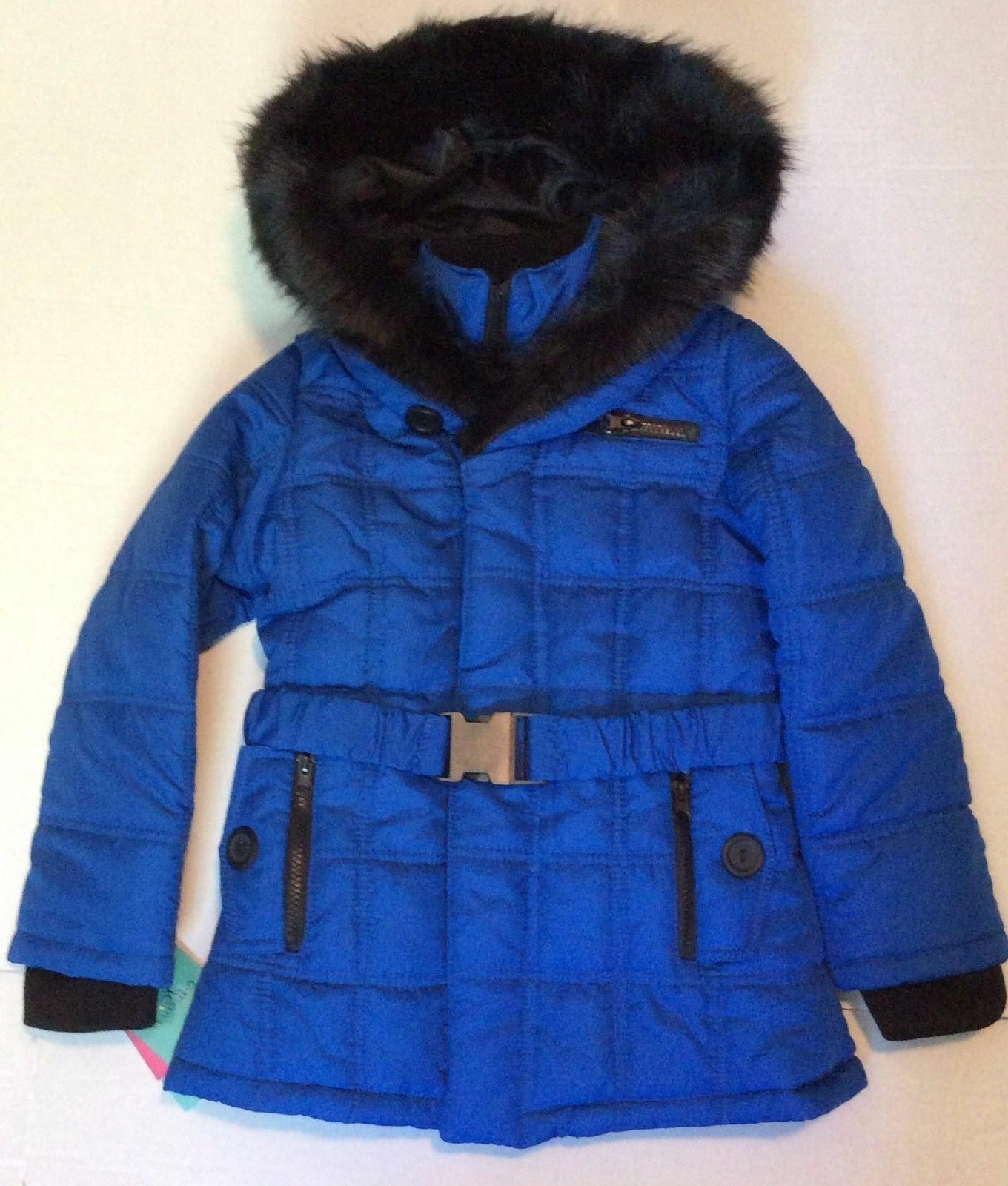 KC Collections Cobalt Blue Girls Faux Fur Trim Hooded Coat S