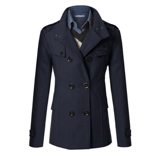 Mens Coat Wool Blend Double Breasted Dress Tops
