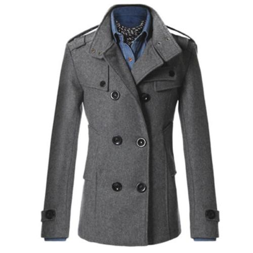 Mens Warm Wool Blend Dress Peacoat Tops