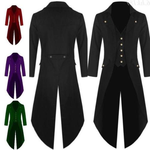 Mens Coat Fashion Steampunk Vintage Tailcoat Jacket Gothic V