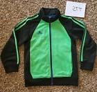 New Adidas Boys Size 7 Athletic Full Zip 3 Stripes Lime Gree