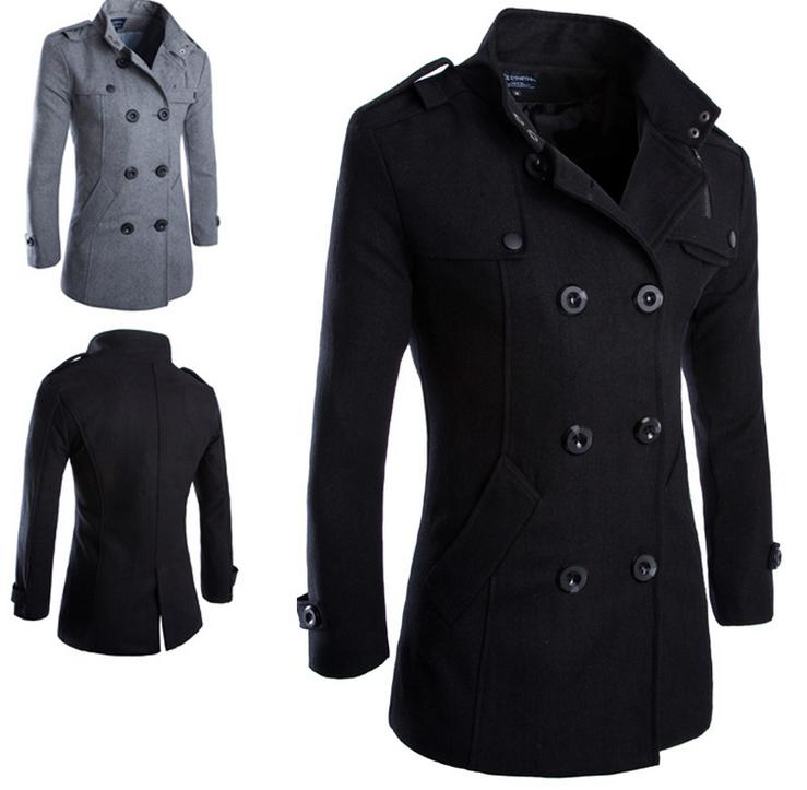 New Fashion Men's Wool Coat Winter Trench Coat Outwear Overc