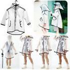 Transparent Raincoat Boy Girl Waterproof Hooded Rain Coats R