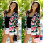 US Women's Fashion Slim Floral Casual Business Blazer Suit J