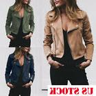 US Women's Ladies Leather Jacket Flight Coat Zip Up Biker Ca