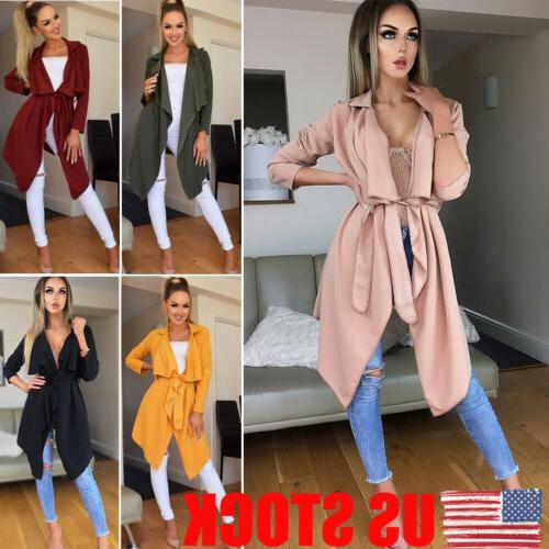 US Womens Long Sleeve Lace Up Sweater Cardigan Jumper Jacket