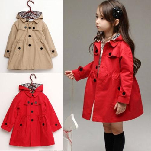 Baby Girls Kids Jacket Trench Coat Hooded Windbreaker Outerw