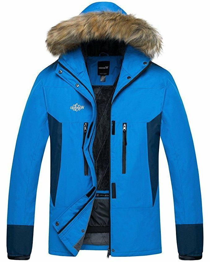 Wantdo Mens Blue Hooded Mountain Rain Jacket Outdoor Fleece