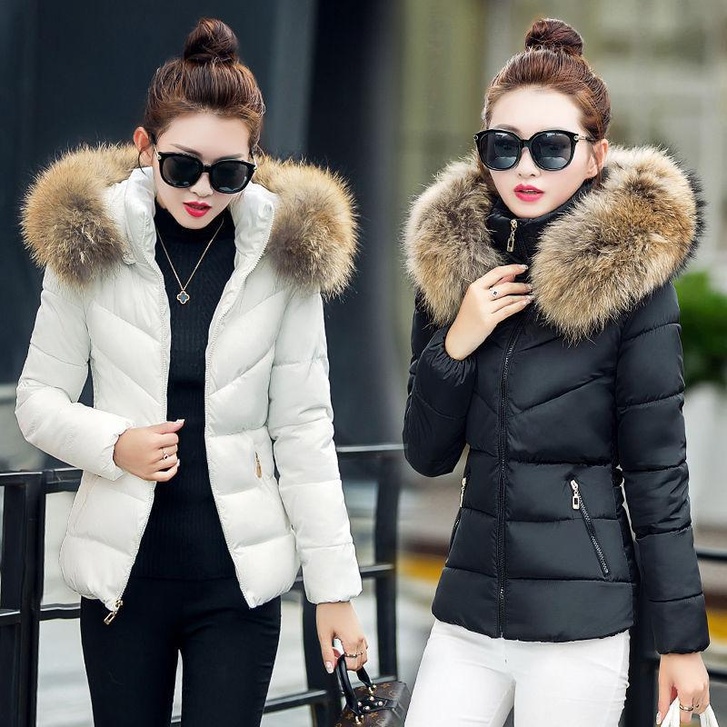 Winter Women's Down Cotton Parka Fur Collar Hooded Coat Ladi