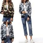 Women Camouflage Print Jacket Coat New Casual Army Green Sho