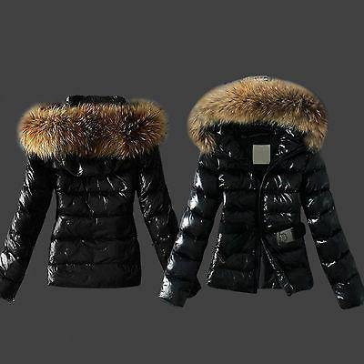 Women Quilted Down Coat Parka Faux Fur Collar Hooded Hoody Z