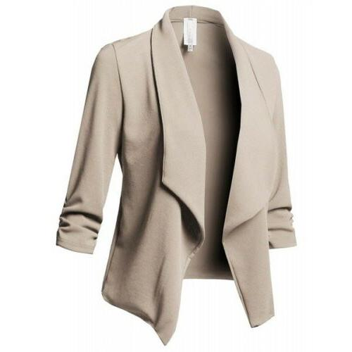 Women Slim Casual Blazer Jacket Tops Outwear Long Plus Sized