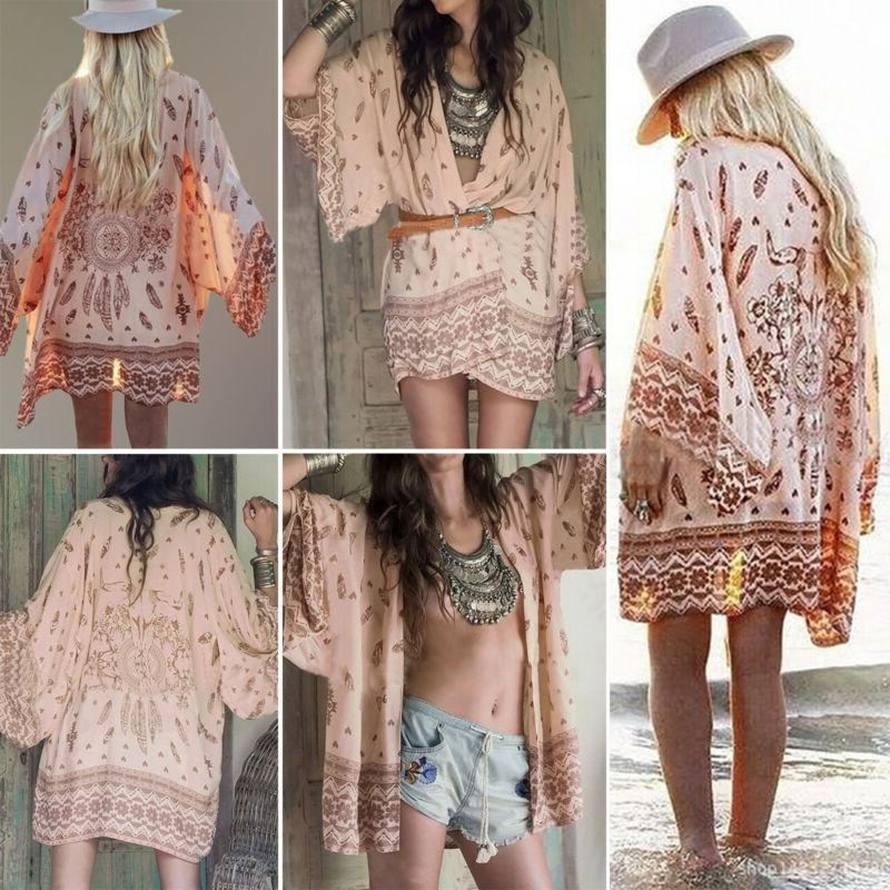 Women Cover Up Floral Cardigan Chiffon Coat Blouse