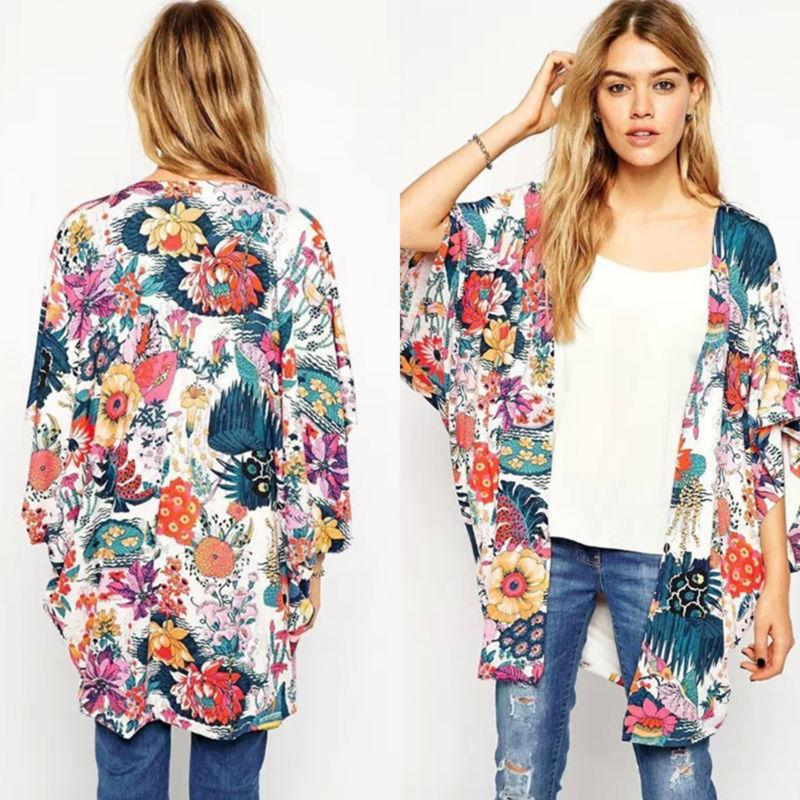 Women Boho Cover Up Lace Floral Cardigan Blouse