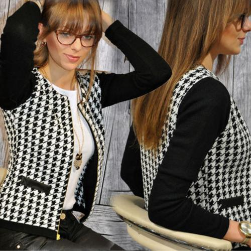Womens Zip Up Blazer Suits Short Jacket Casual Slim Coat Out