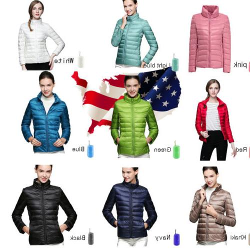 Women's Packable Ultralight Hooded Weight Down Jacket Coat P