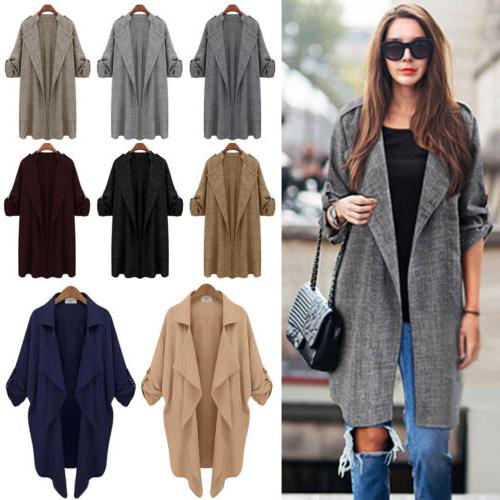 Womens Casual Open Front Cardigan Trench Coat Long Sleeve Du