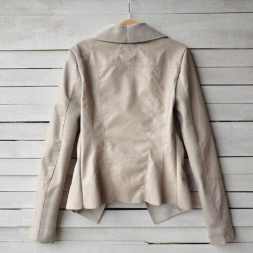 Women's Ladies Leather Coats Zip Up Casual Top Outwear