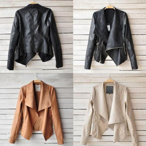 Women's Ladies Leather Coats Winter Biker Flight