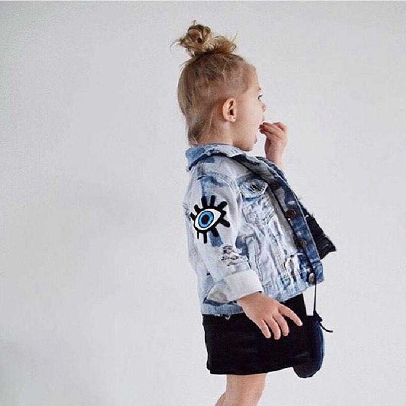 Baby Girls Boys Vintage Jean Kids Eyes Outerwear