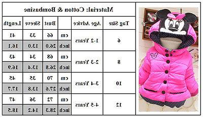 Baby Girls Kids Mouse Coat Warm Outerwear 1-4T